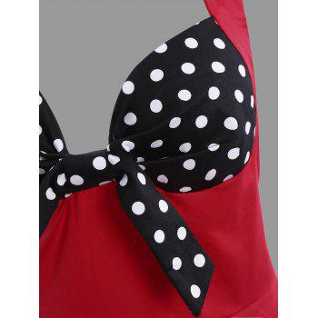 Polka Dot Halter Plus Size Vintage Dress - RED 3XL