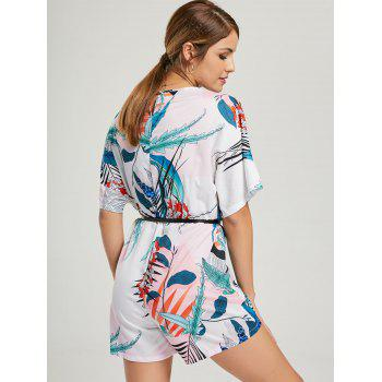 Print Short Sleeve Surplice Romper - WHITE M