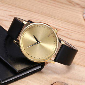 Minimalist Faux Leather Quartz Watch -  BLACK GOLD