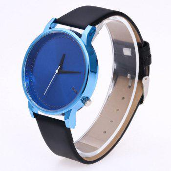 Minimalist Faux Leather Quartz Watch - Bleu et Noir