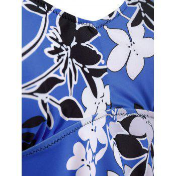 Padded Floral  High Waisted Plus Size Tankini Set - BLUE 5XL