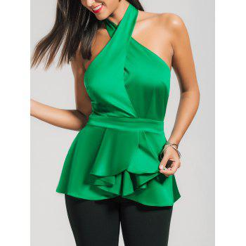 Backless Sleeveless Cross Neck Satin Peplum Top