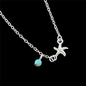 Faux Turquoise Charm Starfish Anklet -  SILVER
