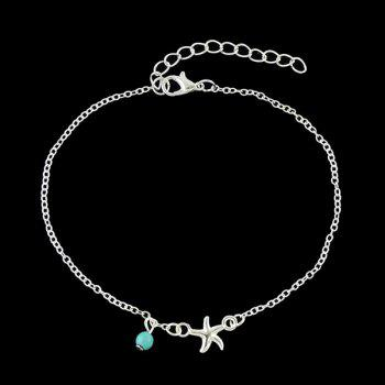 Faux Turquoise Charm Starfish Anklet - SILVER SILVER