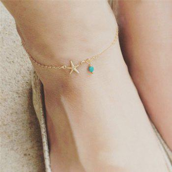Faux Turquoise Charm Starfish Anklet - GOLDEN GOLDEN