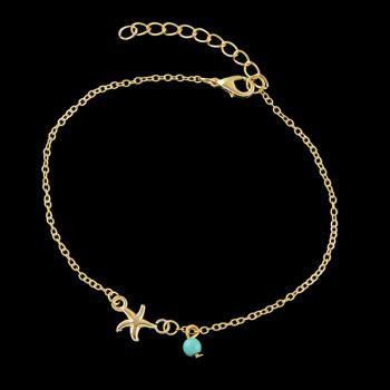Faux Turquoise Charm Starfish Anklet -  GOLDEN