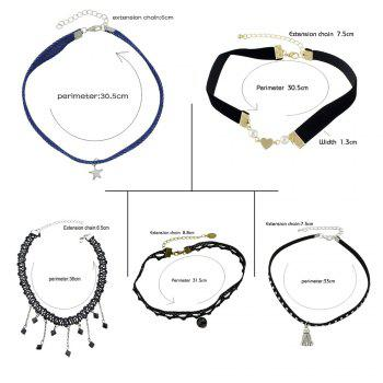 Star Fringed Heart Lace Choker Necklace Set -  COLORMIX
