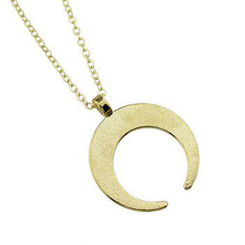 Engraved Gypsy Geometric Moon Pendant Necklace -  GOLDEN