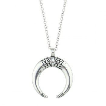 Engraved Gypsy Geometric Moon Pendant Necklace - SILVER SILVER