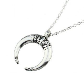Engraved Gypsy Geometric Moon Pendant Necklace -  SILVER