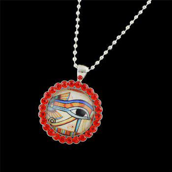 Rhinestone Round Eye Pendant Necklace -  RED