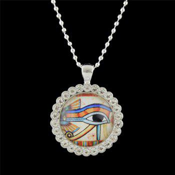 Rhinestone Round Eye Pendant Necklace - WHITE WHITE