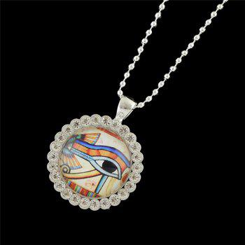 Rhinestone Round Eye Pendant Necklace -  WHITE