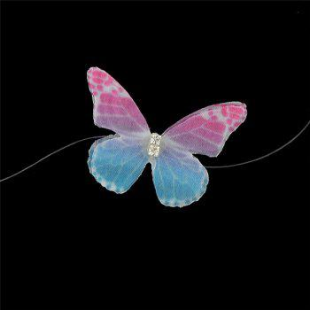 Yarn Rhinestone Butterfly Choker Necklace -  COLORMIX