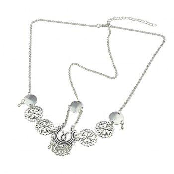 Gypsy Alloy Floral Disc Forehead Chain -  SILVER