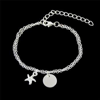 Disc Starfish Charm Chain Bracelet - SILVER SILVER