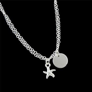 Disc Starfish Charm Chain Bracelet -  SILVER