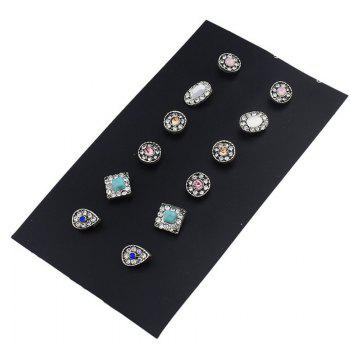 Rhinestoned Faux Turquoise Stud Earring Set - COLORMIX COLORMIX