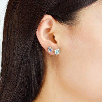 Rhinestoned Faux Turquoise Stud Earring Set - COLORMIX