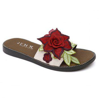 Embroidering Flower Flat Heel Slippers