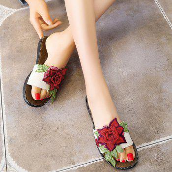Embroidering Flower Flat Heel Slippers - WHITE 38