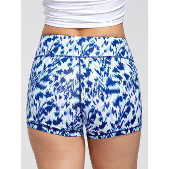 Sports Tie Dye Printed Mini Shorts - BLUE BLUE