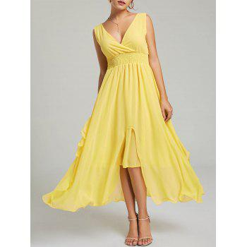 Empire Waist Chiffon Ruffle Dress - YELLOW XL