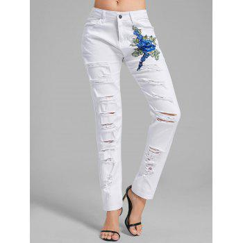Floral Embroidered Ripped Denim Pants - WHITE WHITE
