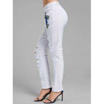 Floral Embroidered Ripped Denim Pants - WHITE L