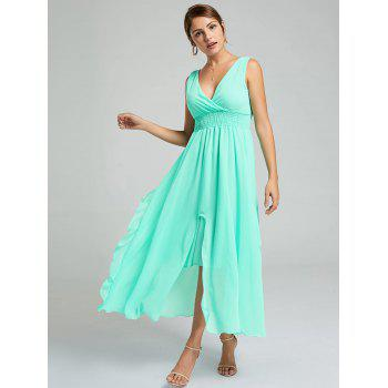 Empire Waist Chiffon Ruffle Dress - APPLE SLICE XL