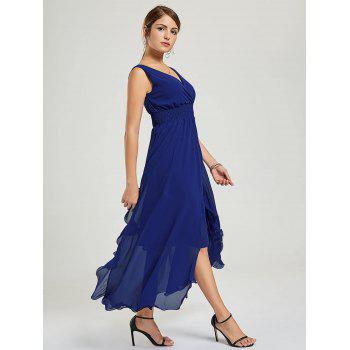 Empire Waist Chiffon Ruffle Dress - Bleu Foncé M