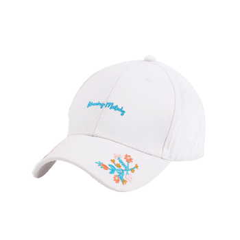 Floral Letters Embroidered Baseball Cap - WHITE