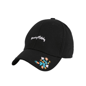Floral Letters Embroidered Baseball Cap -  BLACK