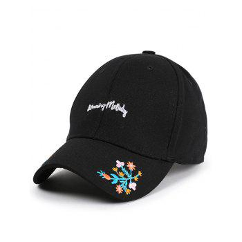 Floral Letters Embroidered Baseball Cap - BLACK BLACK