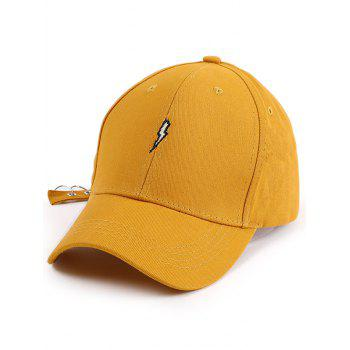 Circles Long Tail Lightning Embroidered Baseball Hat - YELLOW YELLOW