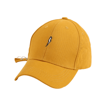 Circles Long Tail Lightning Embroidered Baseball Hat - YELLOW