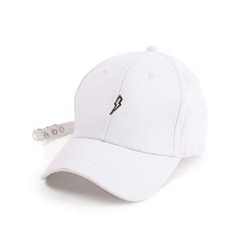Circles Long Tail Lightning Embroidered Baseball Hat - WHITE WHITE