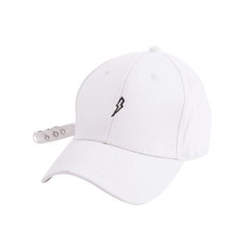 Circles Long Tail Lightning Embroidered Baseball Hat -  WHITE