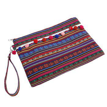 Canvas Ethnic Clutch Bag -  PURPLE RED