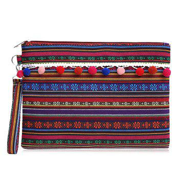 Canvas Ethnic Clutch Bag - PURPLE RED PURPLE RED