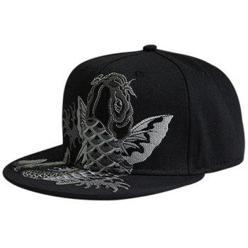 Fancy Carp Embellished Flat Brim Baseball Cap
