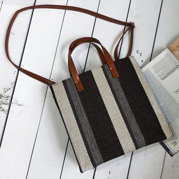 Striped Canvas Tote Bag - BLACK