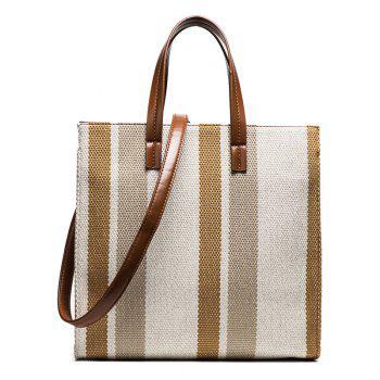 Striped Canvas Tote Bag - BROWN BROWN