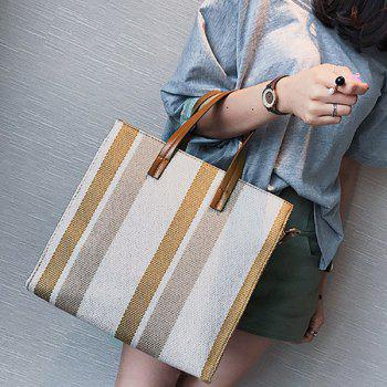 Striped Canvas Tote Bag -  BROWN