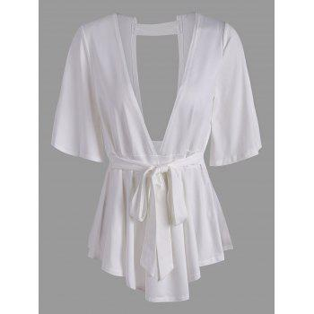 Plunging Neck Cut Out Belted T Shirt