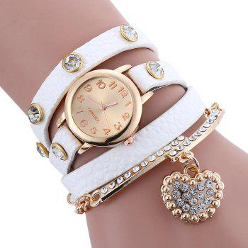 Faux Leather Strap Rhinestone Charm Bracelet Watch - WHITE WHITE
