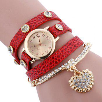 Faux Leather Strap Rhinestone Charm Bracelet Watch - RED RED