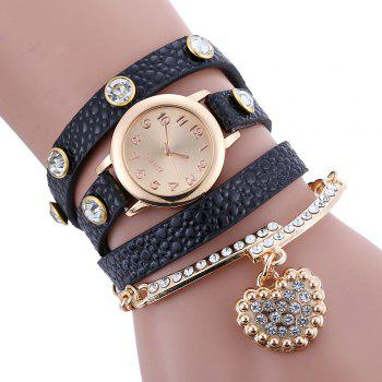 Faux Leather Strap Rhinestone Charm Bracelet Watch - BLACK BLACK