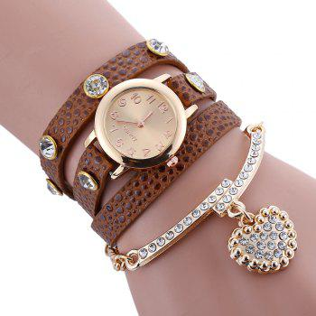 Faux Leather Strap Rhinestone Charm Bracelet Watch - DEEP BROWN DEEP BROWN