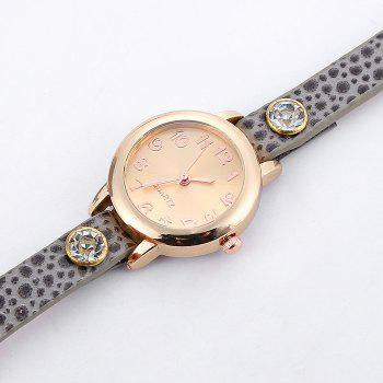 Faux Leather Strap Rhinestone Charm Bracelet Watch - GRAY